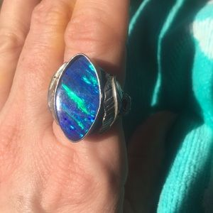 Jewelry - High profile aqua fire opal 925 ring